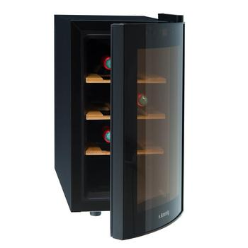 цена на H. koenig AGE8WV Vinoteca 8 Bottles, 25 LTR, Silent, 4 Shelves, Black, plastic [energy efficiency class B]