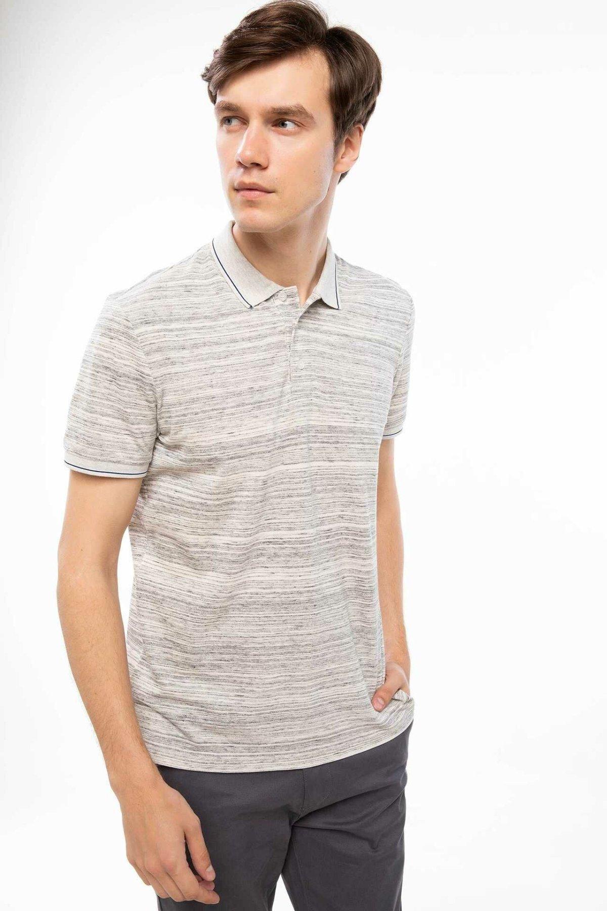 DeFacto Men Casual Summer Top Tees Light Grey Turn-down Collar Knitted Polo Cotton Shirt J0547AZ18AUGR210-J0547AZ18AU