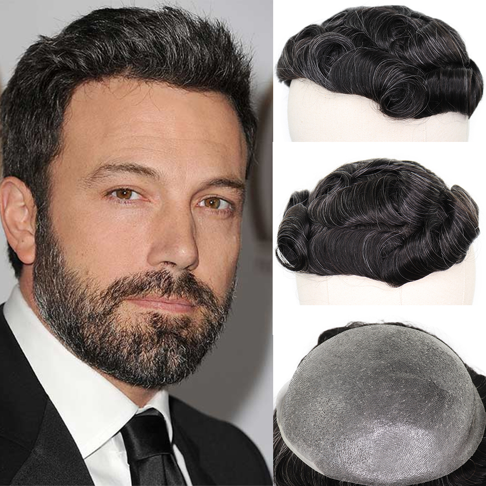 YY Wigs 1B 20% 8x10 Skin PU Human Hair Toupee For Men Natural Black Mixed Grey Hair Replacement System 6 Inch Length HairPiece