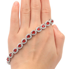 10x8mm Gorgeous Real Red Ruby White CZ Wedding Womans Silver Bracelet 8.0-9.0inch