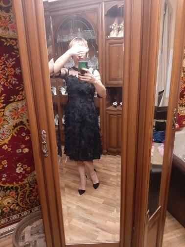 Luxury Women Evening Party Dresses New Arrival Spring Fashion Tassel O Neck Elegant Black Female Dress photo review