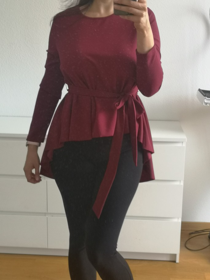 Burgundy Long Sleeve Shirt Women Elegant Blouse Ladies Top Self Belted Asymmetrical Hem Womens Tops And Blouses photo review
