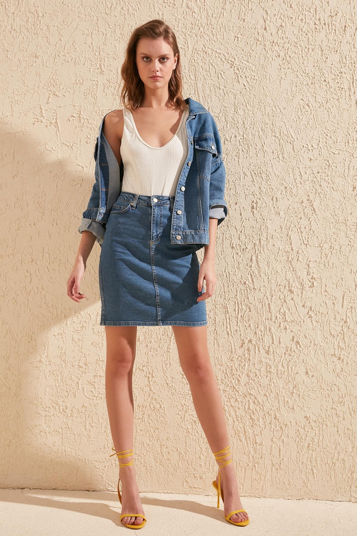 Trendyol Basic Midi Denim Skirt TWOSS20ET0241