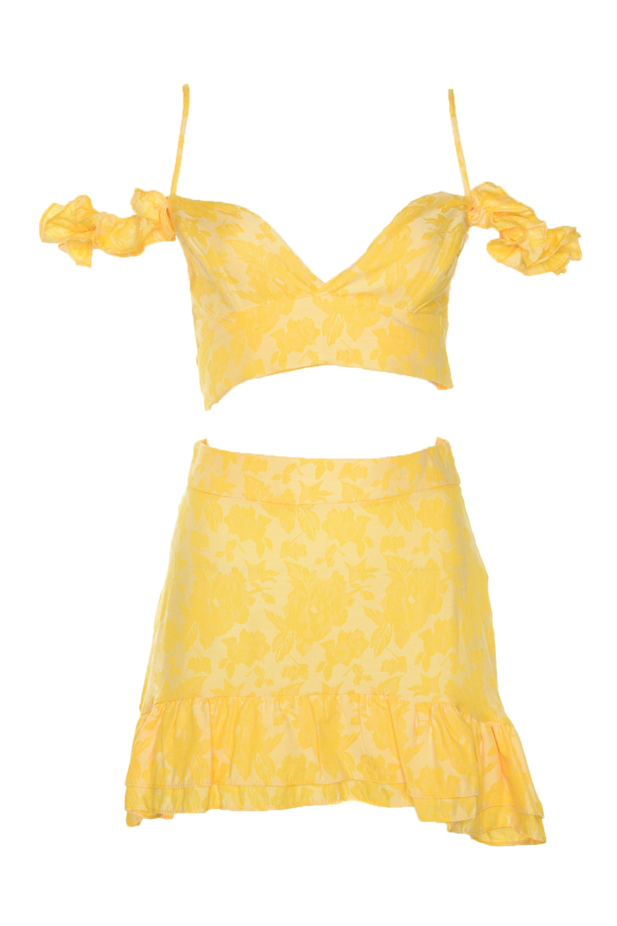 Trendyol Yellow Flower Jacquard Bottom-Top Suit TBESS20AU0034