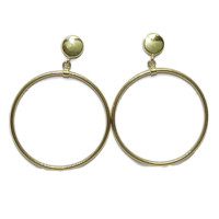 Never say Never jewelry. yellow stud earrings Gold Fashion 18 K with's circle 2.50cm outer diameter 5mm & hoop. Close pression