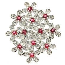 32x28mm Gorgeous Created Flowers Pink Raspberry Rhodolite Garnet Zircon Gift For Ladies Wedding Silver Rings