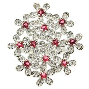 Image 1 - 32x28mm Gorgeous Created Flowers Pink Raspberry Rhodolite Garnet Zircon Gift For Ladies Wedding Silver Rings