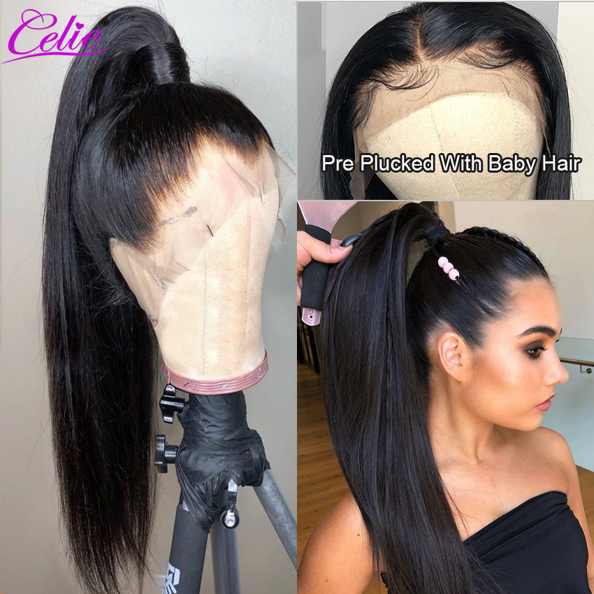 Image 5 - Celie Hair Lace Front Human Hair Wigs Pre Plucked Brazilian Straight Lace Front Wig 150 180 250 Density 360 Lace Frontal Wig-in Human Hair Lace Wigs from Hair Extensions & Wigs