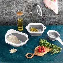 4'lü Katlanabilir Süzgeç Mutfak Seti Huni Pirinç Süzgeci Saplı Kare Pratik Saklanabilen Depolanabilen Takım Körüklü Kullanım