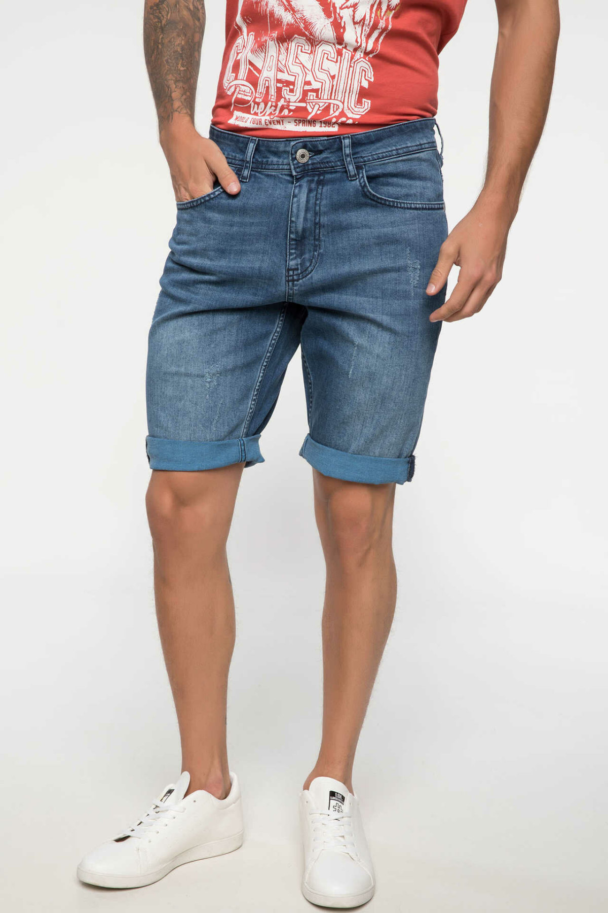 DeFacto Man Summer Casual Blue Denim Shorts Men Washed Denim Short Bottoms Male Fit Mid-waist Bermuda Shorts-I8964AZ18HS