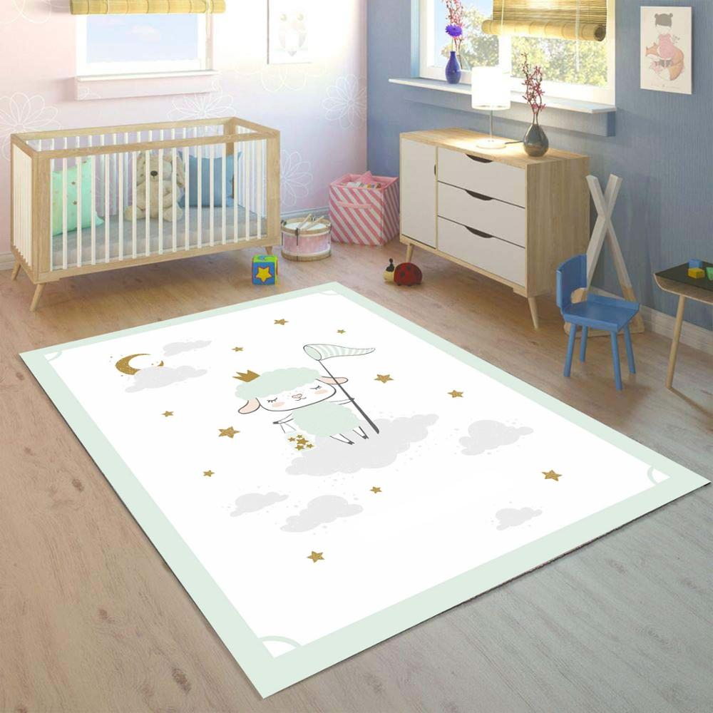 Else Gray White Clouds Little Lamp Stars 3d Print Non Slip Microfiber Children Kids Room Decorative Area Rug Mat