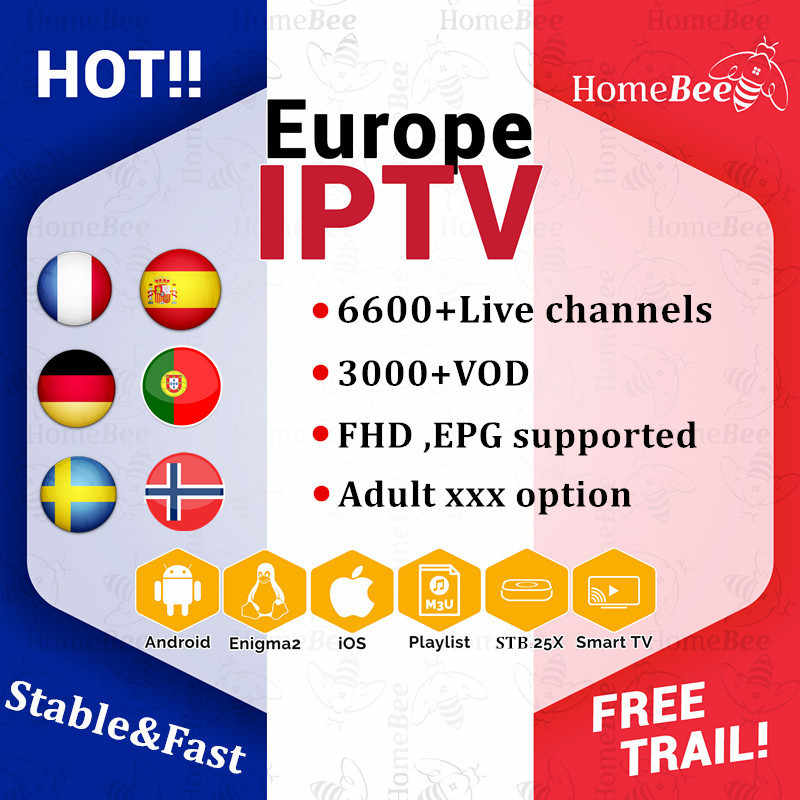 French IPTV subscription 6000+Live IPTV M3U Europe Portugal Spain IPTV France Sweden smart tv android tv box x96 MINI adult xxx