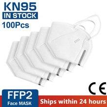 Ffp2 kn 95 mascarillas filtros fp2 higienicas homólogos mascara ffp 2 ffp2mask reutilizável 100 peças máscaras para proteção
