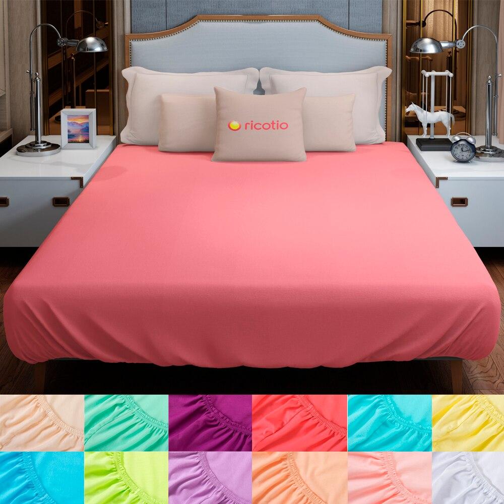 Простынь на резинке комфортная и практичная трикотажная, разнообразие цветов и размеров на выбор