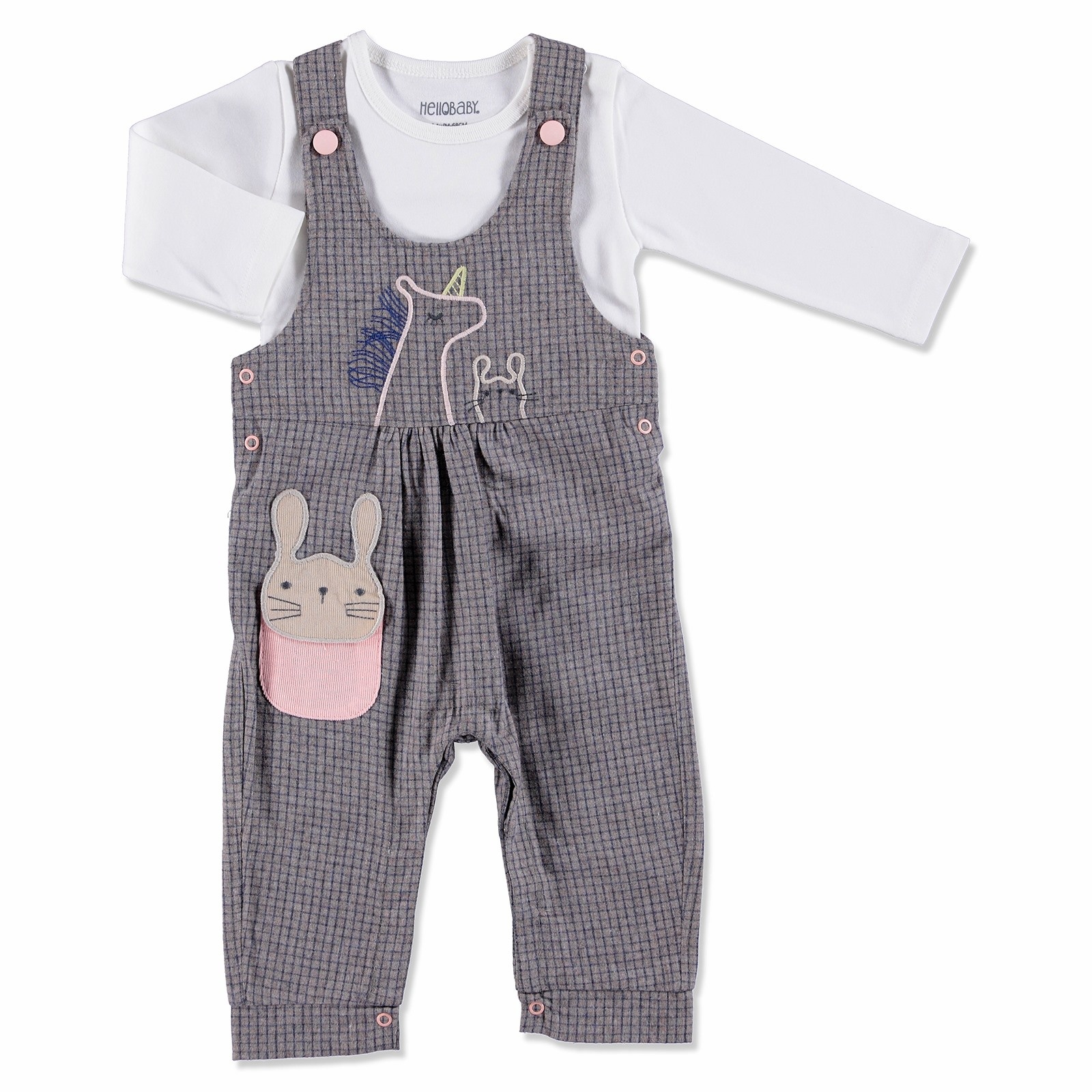 Ebebek HelloBaby Rabbit Texture Baby Dungarees Sweatshirt Set