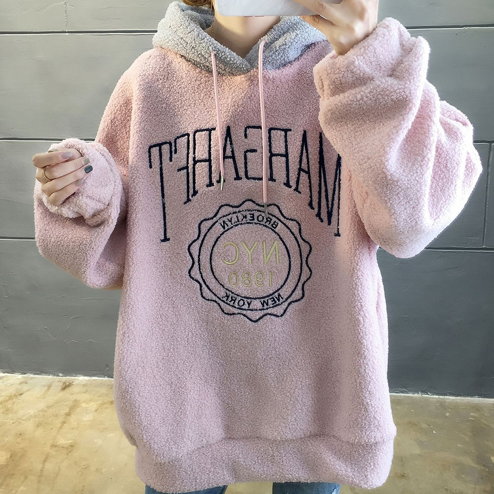 OSKE Winter Oversized Hoodies For Women Fleece Hoodie Sweatshirt Loose Lantern Sleeve Sweatshirts Color Matching Hoody Pullover