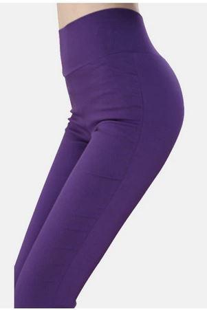 KIL048 Women's High Waist Pencil Pants Solid Bodycon Leggings Trousers Women