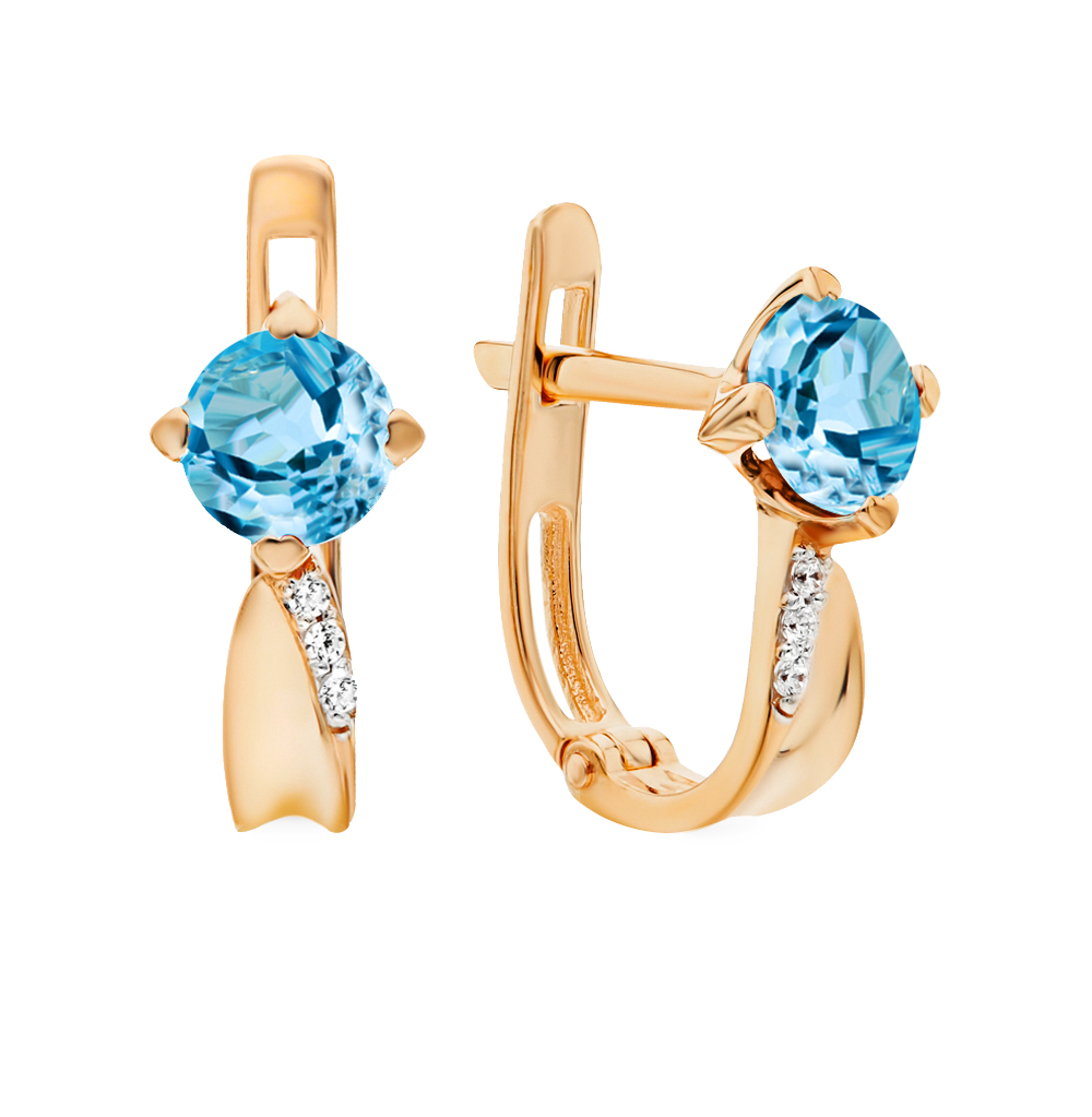 Gold Earrings With Topaz And Cubic Zirconia Sunlight Sample 585