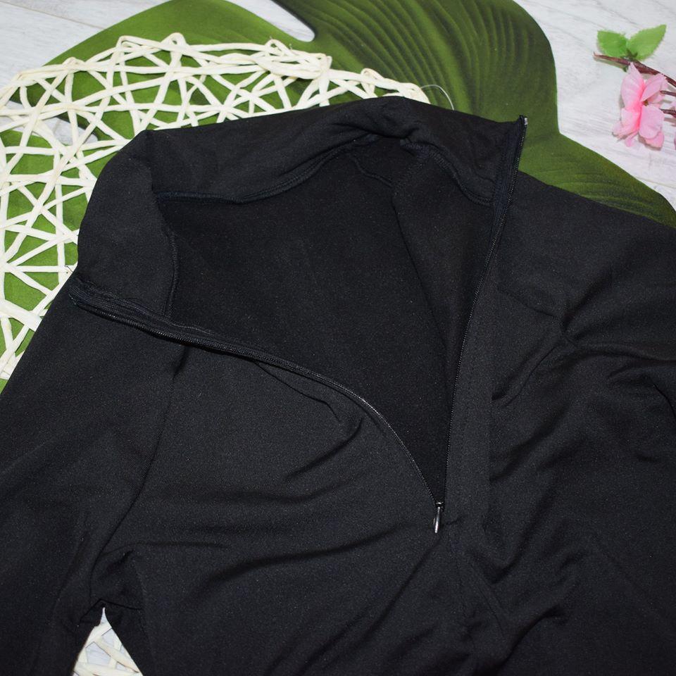 Evenworse Sexy Zipper Bodycon Jumpsuit 2020 Spring Fashion Long Sleeve Round Collar Slim Black Bodysuit Nightclub Club Christmas reviews №3 57198
