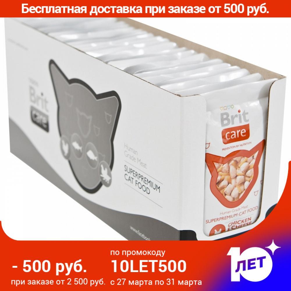 Brit Care пауч для кошек (кусочки в соусе), Курица и сыр, 24*80 г