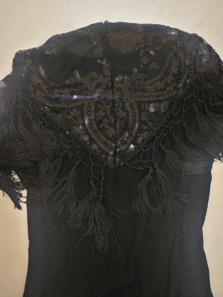 Black Fringe Mesh Sheer Elegant Sequin Bodysuit Women Autumn Long Sleeve Skinny Vintage Party Ladies Bodysuits photo review