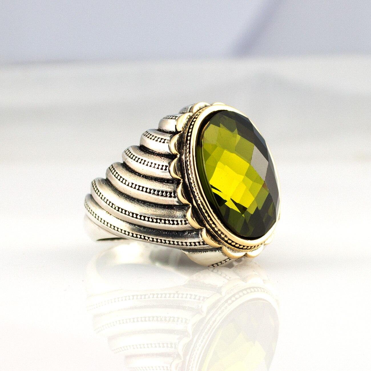 Bague en argent Sterling 925 pour homme avec pierre de Zircon jaune (fabriquée en turquie) - 2