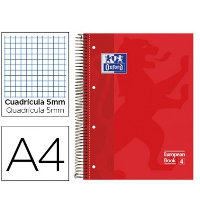 NOTEPAD SPIRAL OXFORD TOP EXTRADURA MICROPERFORATED DIN A4 80 SHEETS PICTURES 5 MM-RED COLOR 5 PCs
