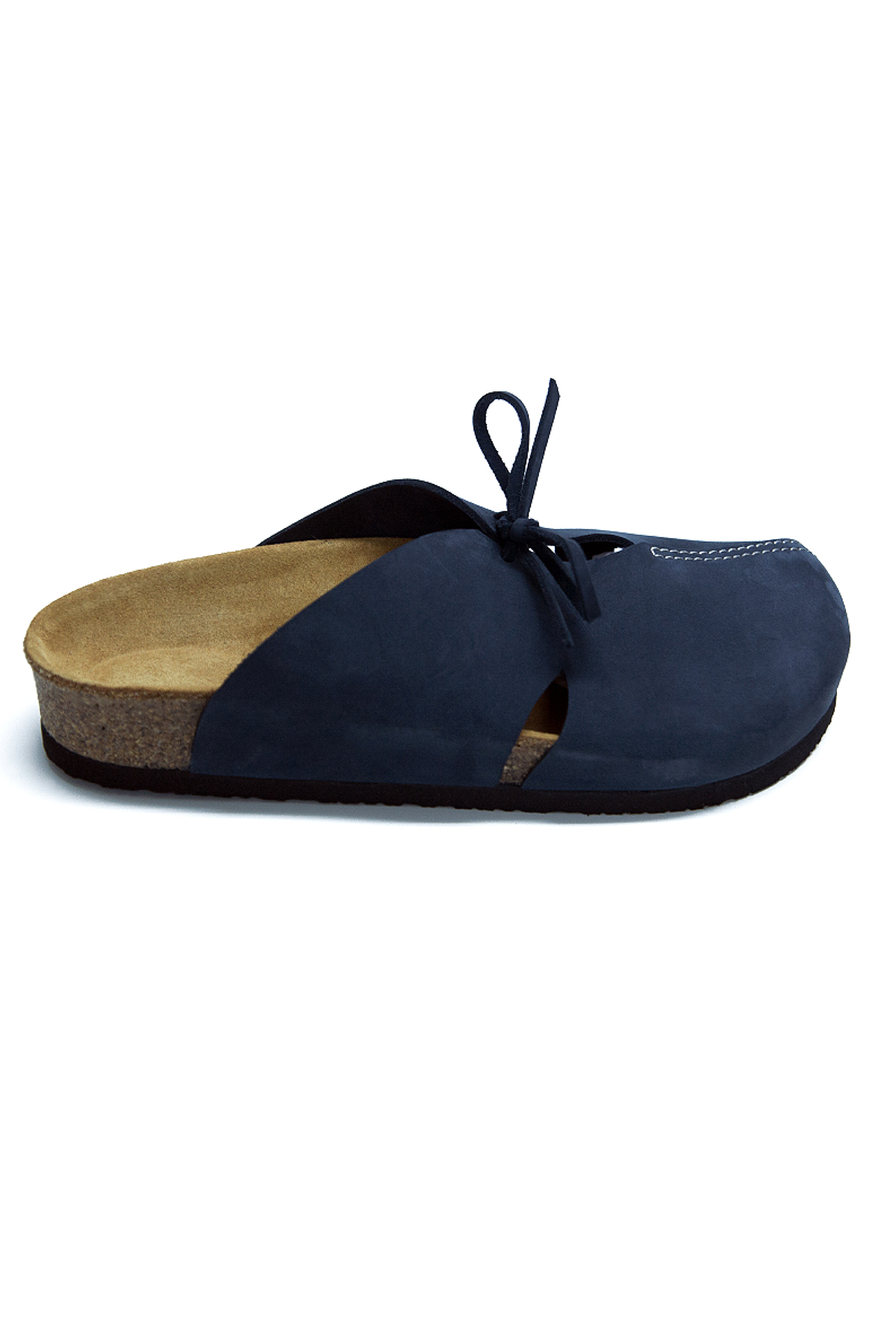 HERA Navy Blue Clogs Anatomical Natural Cork Sole Real Leather Women Sandals