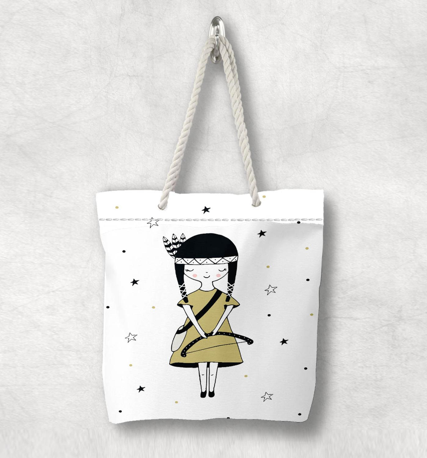 Else Kızılderili Oklu Prenses Kız Nordic Scandinavian White Rope Handle Canvas Bag  Cartoon Print Zippered Tote Bag Shoulder Bag