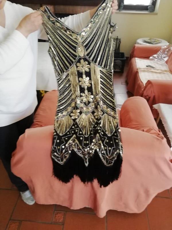 Women 1920 s Vintage Great Gatsby Dress Sequins Dress V-Neck Tassels Bodycon Beaded Party Dress Flapper Dresses Art Deco Double reviews №1 48180