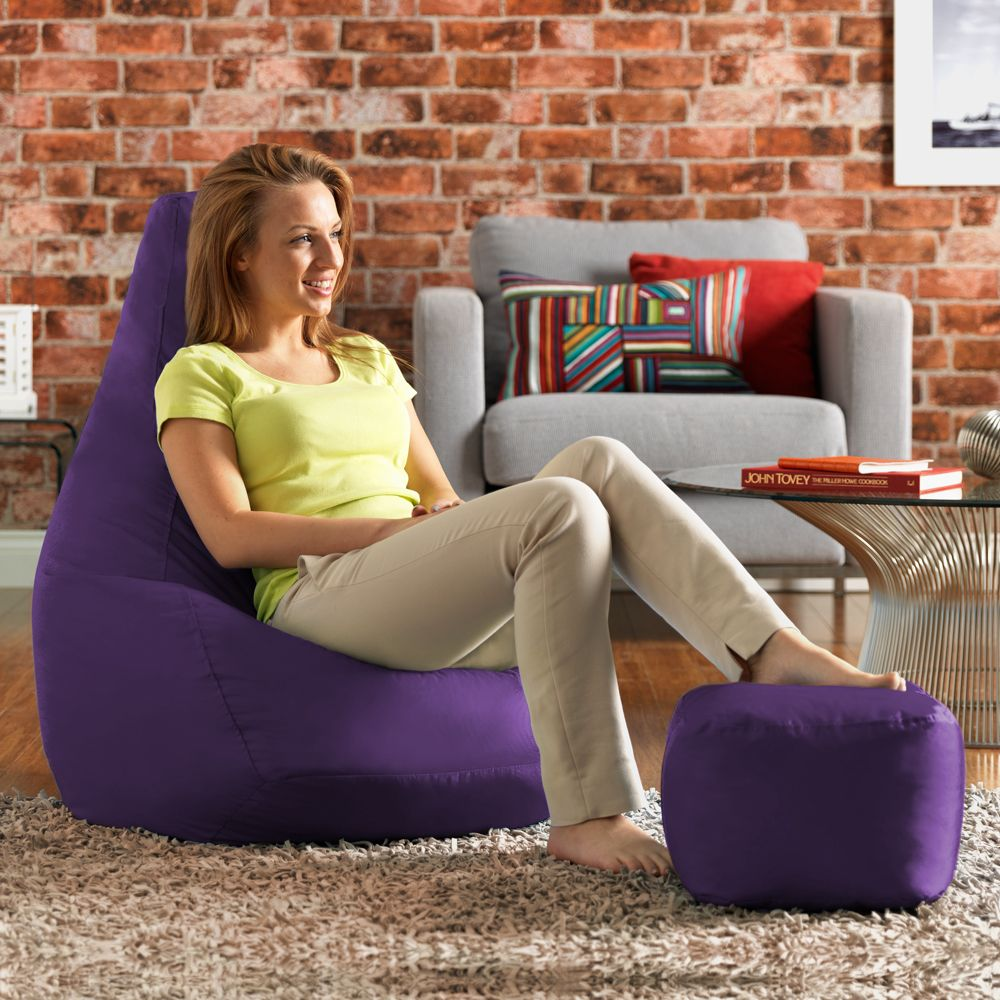 Ink Craft Leatherette Purple Combo Retro Classic Bean Bag Chair Cover Only