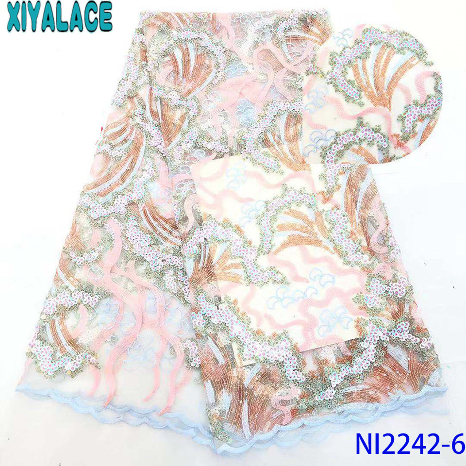 Sequin Lace Fabric Newest,2019 African Fabric Lace,French Embroidery Tulle Lace With Sequences For Wedding Dresses KSNI2242-6