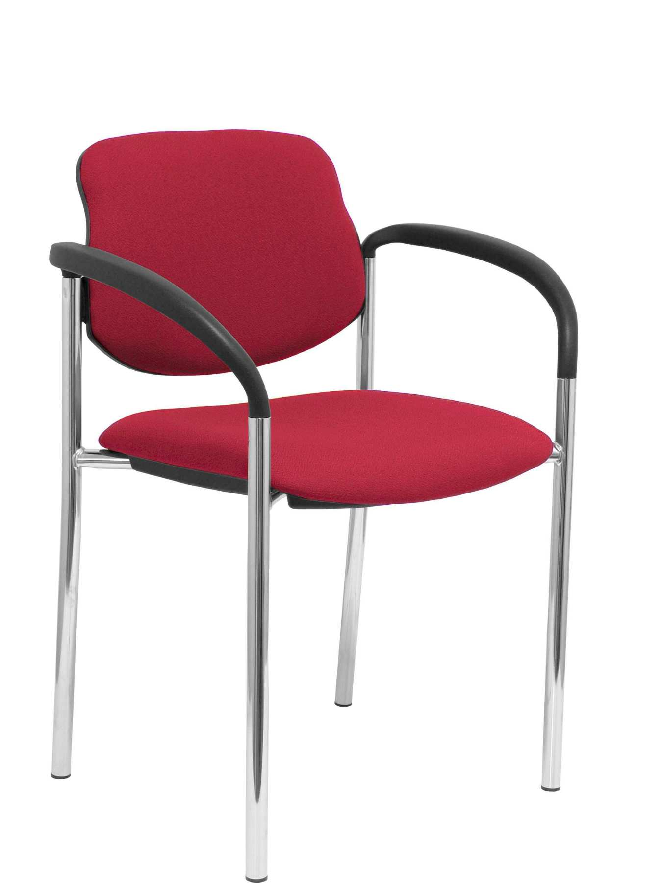 Confident Chair 4-leg And Estructrua Chrome Arms-Seat And Back Upholstered In Fabric BALI Maroon