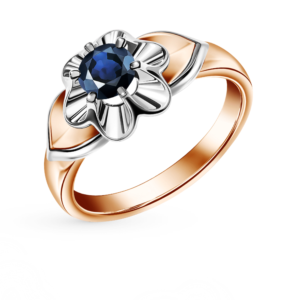 Gold Ring With Sapphire Sunlight Sample 585