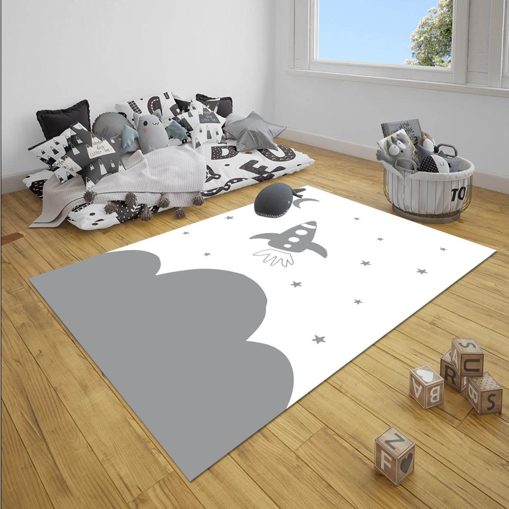 Else Gray Wite Space Cloud Stars Boy 3d Print Anti Slip Microfiber Children Baby Kids Room Decorative Area Rug Mat