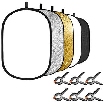60x90cm 24x35 5 in 1 multi reflector photography studio photo oval collapsible light reflector handhold portable photo disc Neewer 5-in-1 Photography Light Reflector with 6-Pack Backdrop Clamps Kit: Oval 24x35 inches/60x90 cm Collapsible Reflector Disk