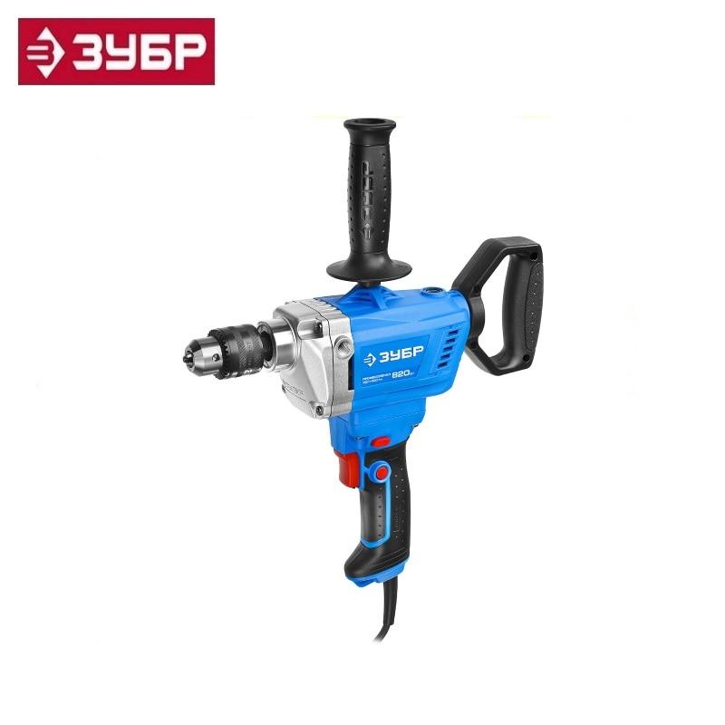 цена на Drill mixer reversible, Zubr Professional ZDM-820 RM, 50 Nm, cartridge 13 mm, 0-650 rpm, 820 W Stirring paint putty materials