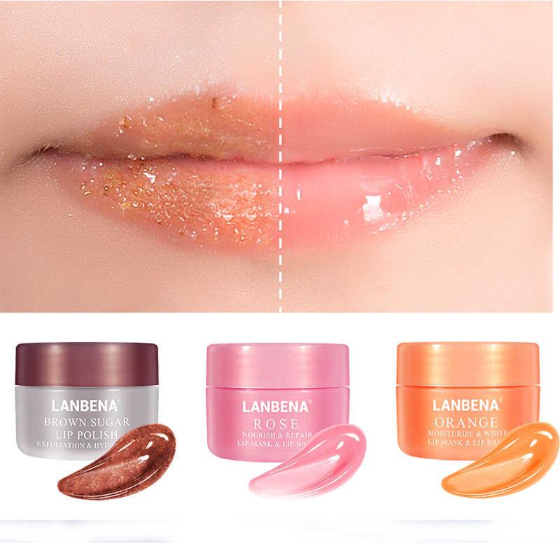 Lanbena Lip Plumper maska na usta nawilżający peeling do ust Lip Oil różowy balsam do ust odżywiają usta maska Lip Exfoliator maski do spania krem