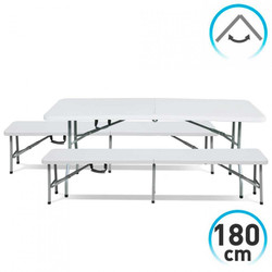 Table set with 2 Banks 180cm White Foldable Caterers GH91