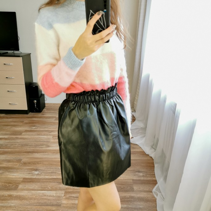 Winter Women'S Leather Mini Skirt Black Elastic High Waist Skirts Womens Clothes Faldas Mujer Moda Jupe Femme Streetwear photo review