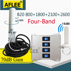 LTE B20 800 1800 2100 2600 Mhz أربعة الموجات الخلوية مكبر للصوت 4G إشارة مكرر GSM 2G 3G 4G إشارة المحمول الداعم LTE DCS WCDMA