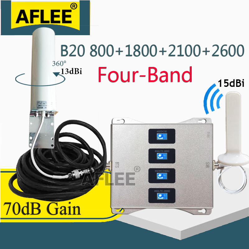 LTE B20 800 1800 2100 2600 Mhz Four-Band Cellular Amplifier 4G Signal Repeater GSM 2G 3G 4G Mobile Signal Booster LTE DCS WCDMA