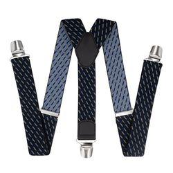 Pantalons bretelles avec clips renforcés (3.5 cm, 3 clips, bleu, blanc) 55726