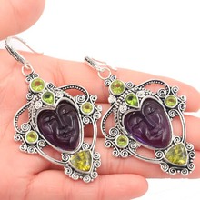 Elegant Rich Violet Tanzanite, White CZ Ladies Party Wedding 925 Silver Earrings Gift