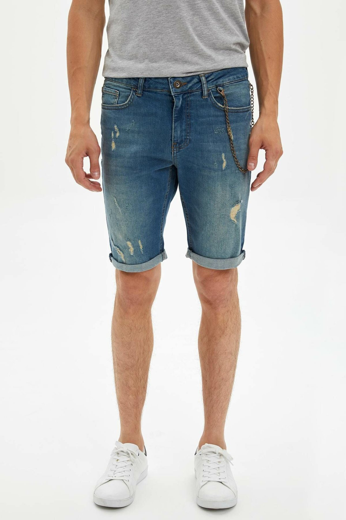 DeFacto Man Summer Light Blue Denim Shorts Men Casual Ripped Denim Bottoms Male Fashion Holes Bermuda Shorts-L0187AZ19HS