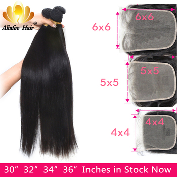 8-36 Peruvian Straight Bundles With Closure Natural Color Human Hair Bundles With 4x4/5x5/6x6 Closure Non-Remy Hair Extensions image