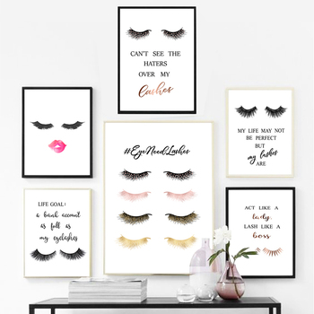 Fashion Eyelashes Extensions Quotes Posters Girls Room Wall Art Canvas Painting Lashes Pictures Prints Makeup Salon Wall Decor