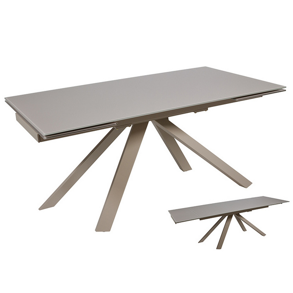 Dining Table Crystal Metal Grey (160 X 90 X 76 Cm)