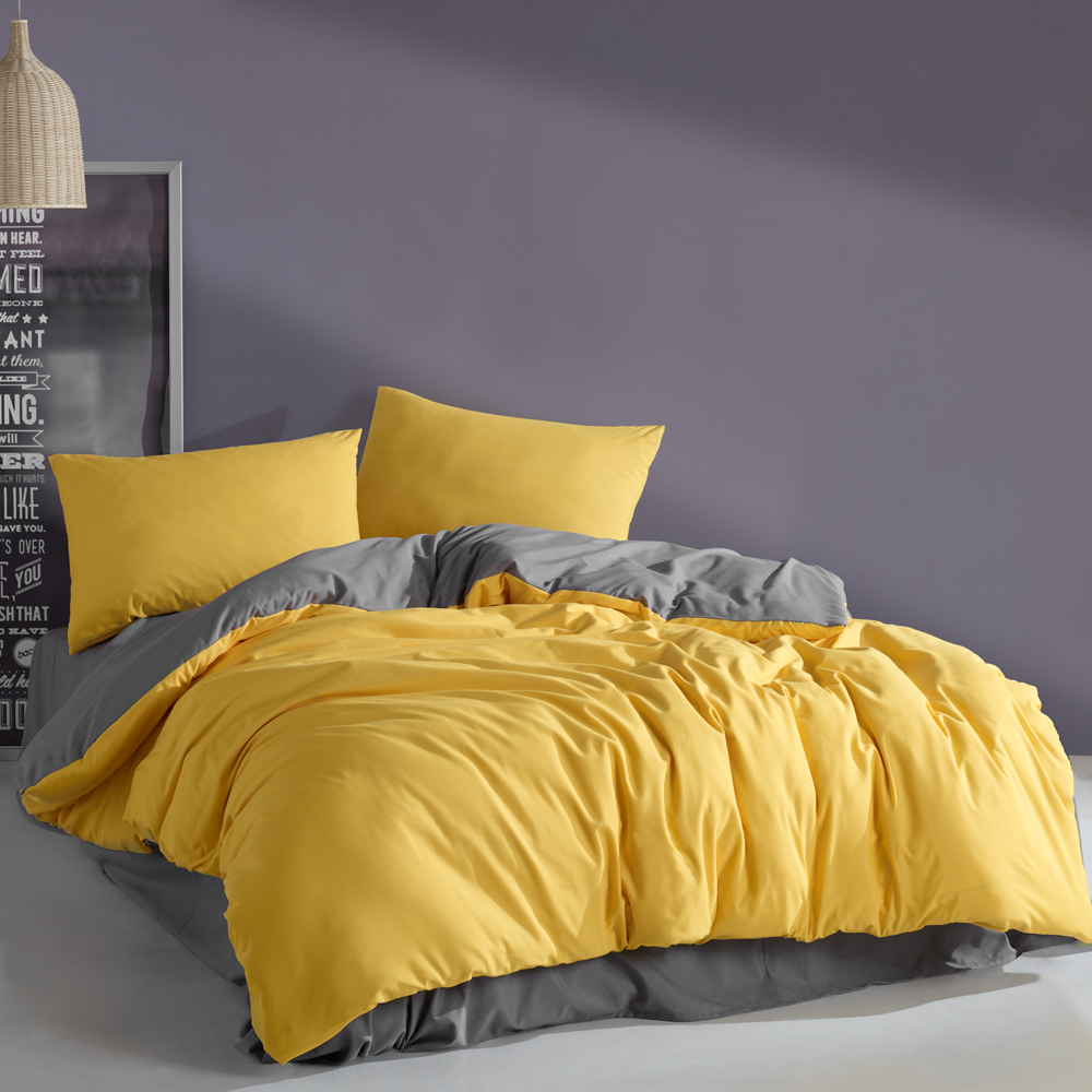 Yellow&Grey Luxury Solid Bed Linen Cotton Set Ranforce Bedding Set Twin/Full/Queen/King Size 3/4/5 Pcs Bed Sheet Duvet Cover Set