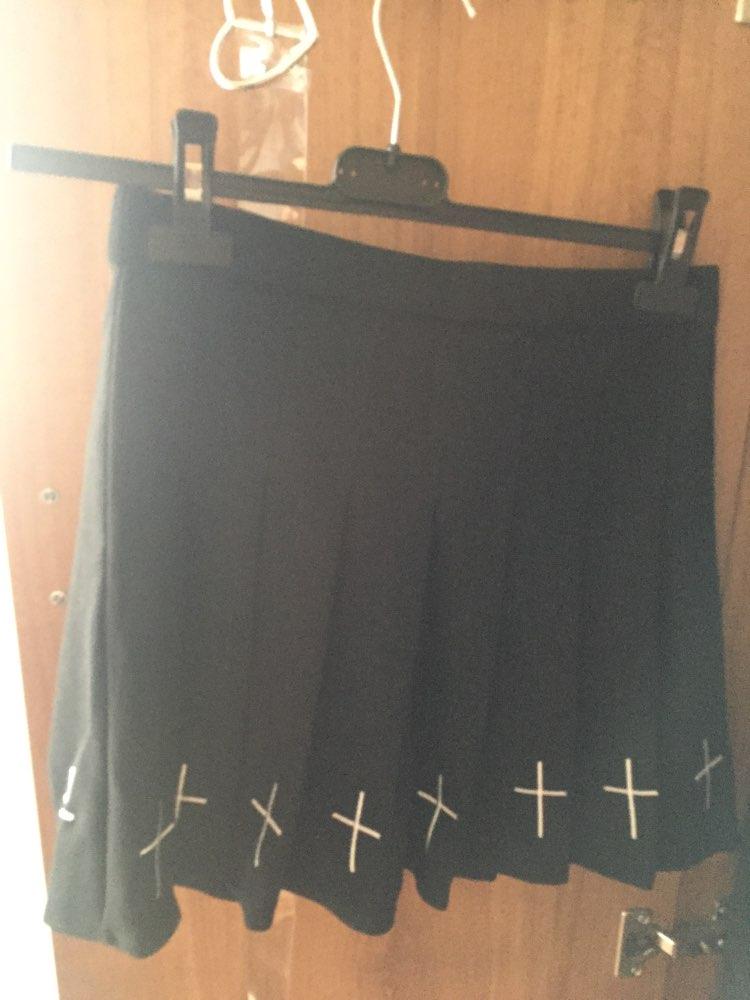Girls Punk Cross Embroidery Skirts Summer Pleated Women High Waist Gothic Mini Skirts Cross Female Black White Skirt photo review